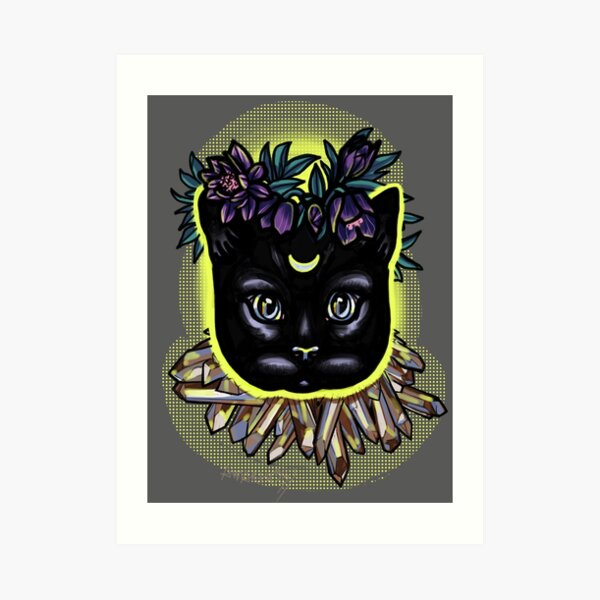 Crystal moon cat with hellebore. Art Print