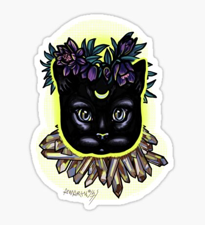 Crystal moon cat with hellebore. Sticker