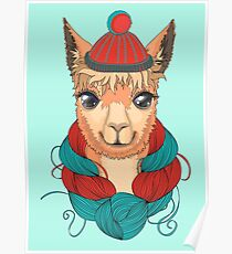 Lama in a knitted hat. Vector illustration.  Poster