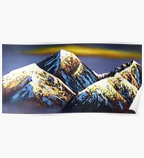 Panoramic Night View Of Everest Mountain Poster