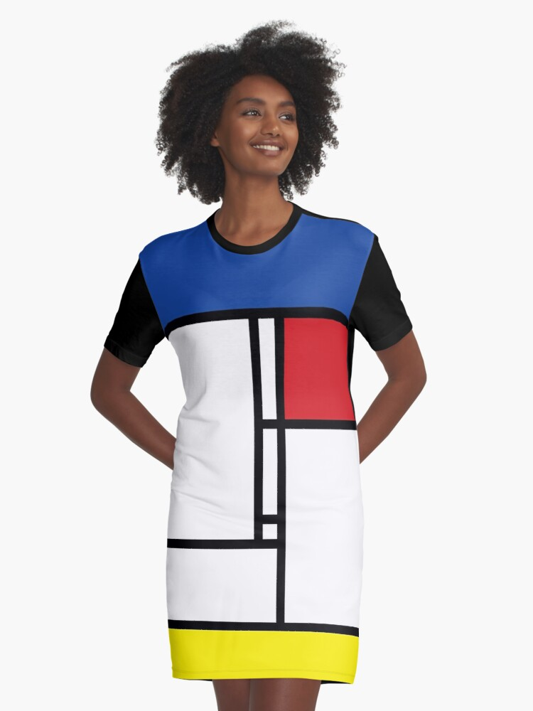 Mondrian Minimalist De Stijl Modern Art Graphic T-Shirt Dress Front