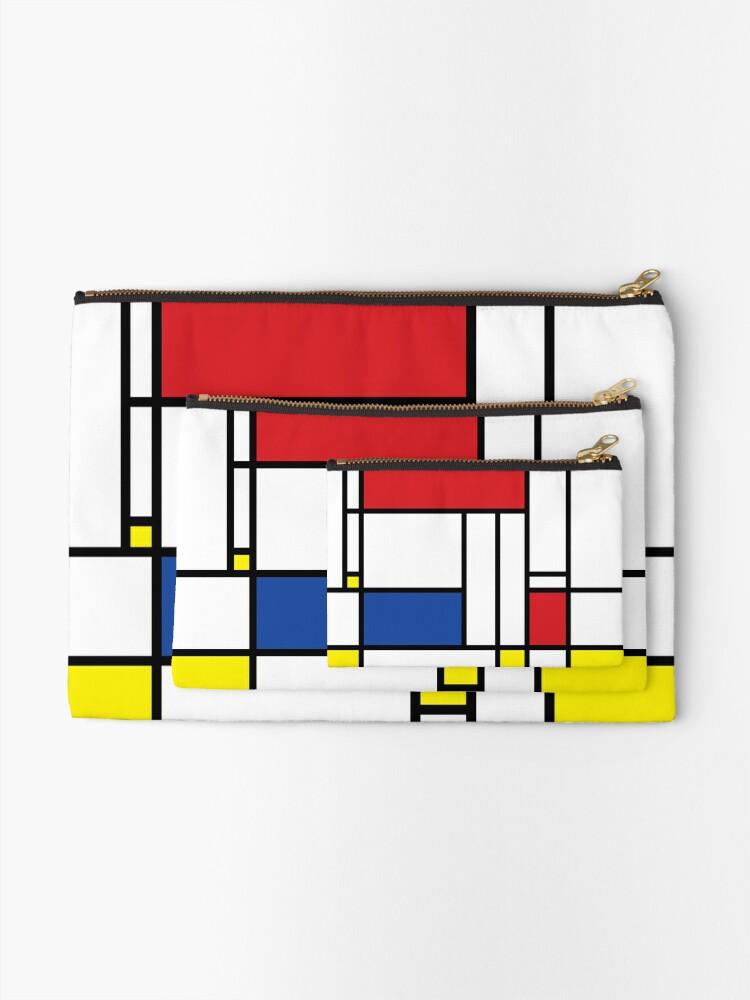 Alternate view of Mondrian Minimalist De Stijl Modern Art © fatfatin Zipper Pouch