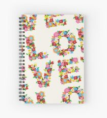 LOVE Spring Flowers in Red Spiral Notebook
