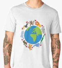 We Love Our Planet | Animals Around The World Men's Premium T-Shirt