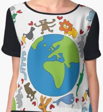 We Love Our Planet | Animals Around The World Women's Chiffon Top