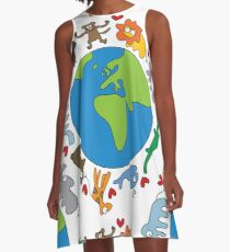 We Love Our Planet | Animals Around The World A-Line Dress
