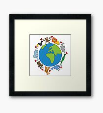 We Love Our Planet | Animals Around The World Framed Print
