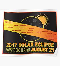 2017 Solar Eclipse Across Wyoming Cities Map Illustration Poster