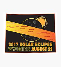 2017 Solar Eclipse Across Wyoming Cities Map Illustration Photographic Print