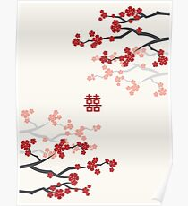Red Oriental Cherry Blossoms on Ivory and Chinese Wedding Double Happiness | Japanese Sakura  Poster