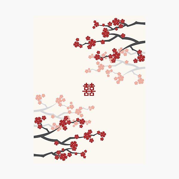 Red Oriental Cherry Blossoms on Ivory and Chinese Wedding Double Happiness | Japanese Sakura  Photographic Print