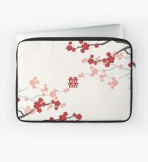 Red Oriental Cherry Blossoms on Ivory and Chinese Wedding Double Happiness | Japanese Sakura  Laptop Sleeve