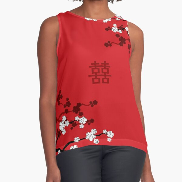 White Oriental Cherry Blossoms on Red and Chinese Wedding Double Happiness | Japanese Sakura © fatfatin  Sleeveless Top