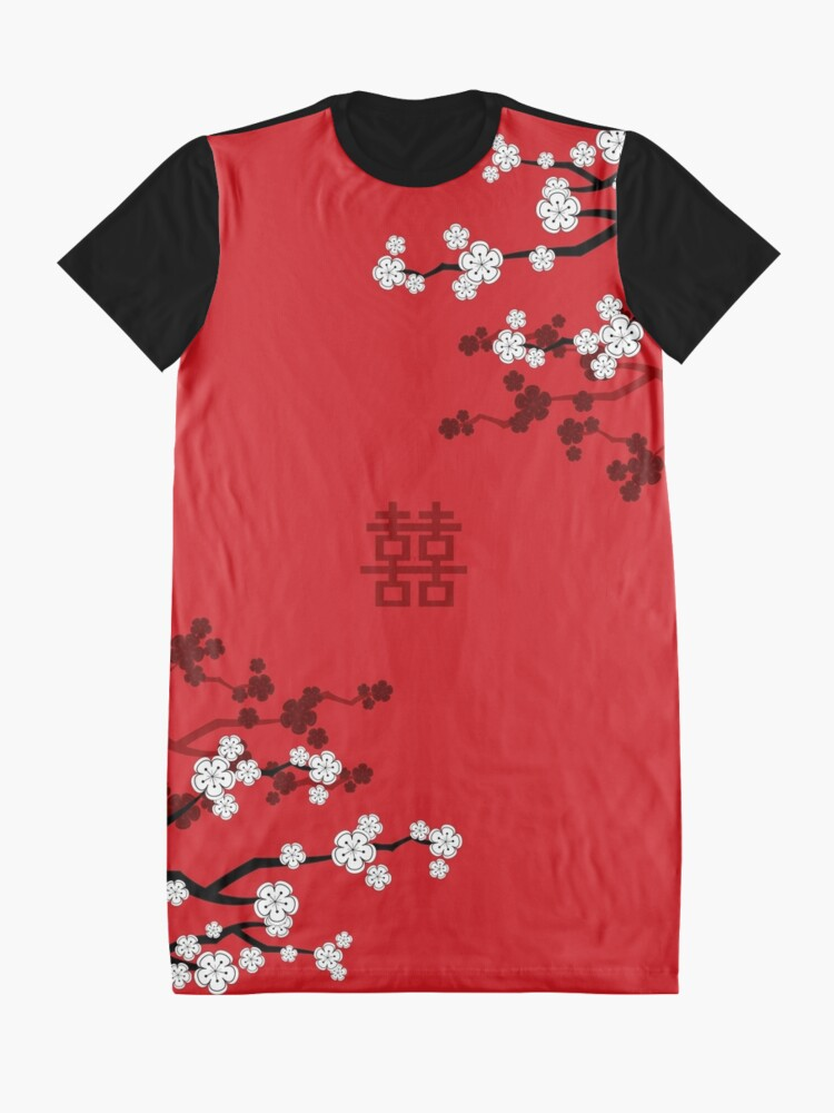 Alternate view of White Oriental Cherry Blossoms on Red and Chinese Wedding Double Happiness | Japanese Sakura © fatfatin  Graphic T-Shirt Dress