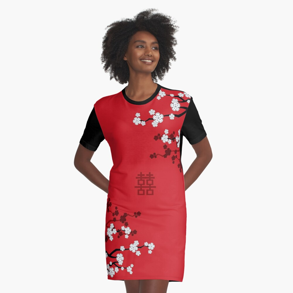 White Oriental Cherry Blossoms on Red and Chinese Wedding Double Happiness | Japanese Sakura © fatfatin  Graphic T-Shirt Dress