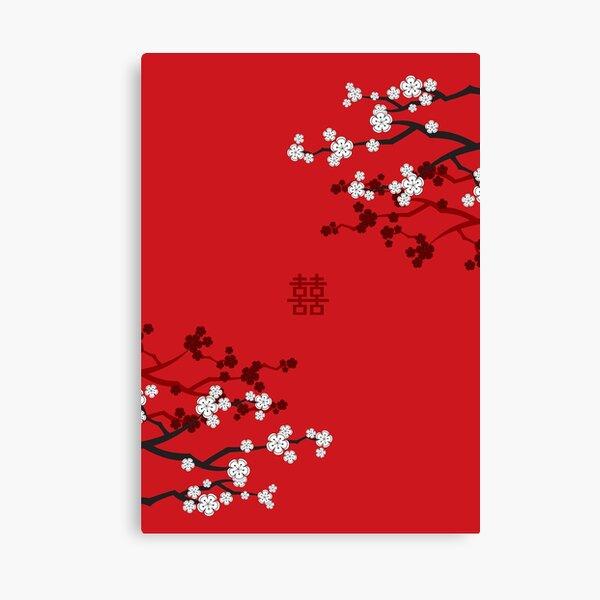 Flores de cerezo blancas orientales en rojo y boda china Doble felicidad | Sakura japonesa © fatfatin Lienzo