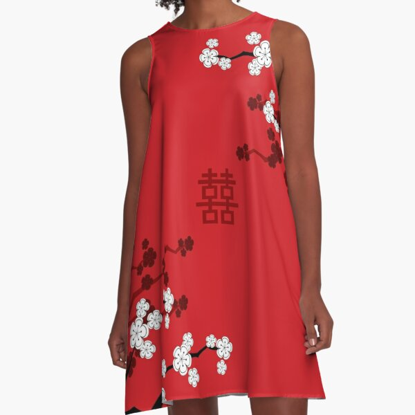 White Oriental Cherry Blossoms on Red and Chinese Wedding Double Happiness | Japanese Sakura © fatfatin  A-Line Dress