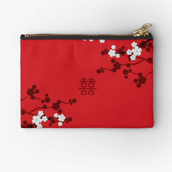 White Oriental Cherry Blossoms on Red and Chinese Wedding Double Happiness | Japanese Sakura © fatfatin  Zipper Pouch