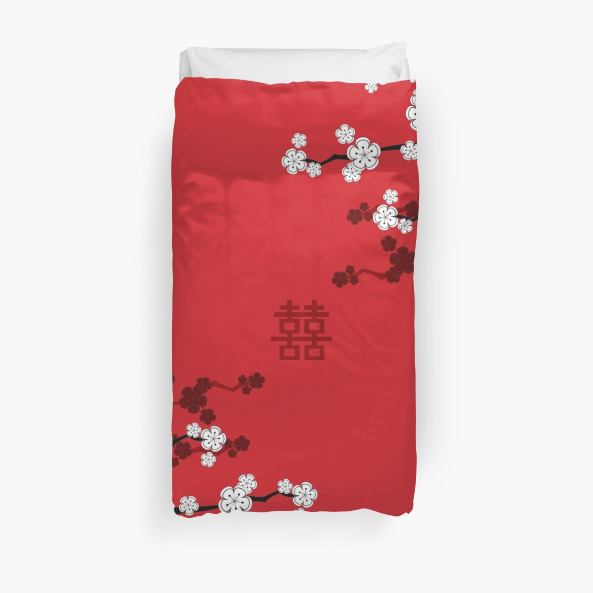 White Oriental Cherry Blossoms on Red and Chinese Wedding Double ...
