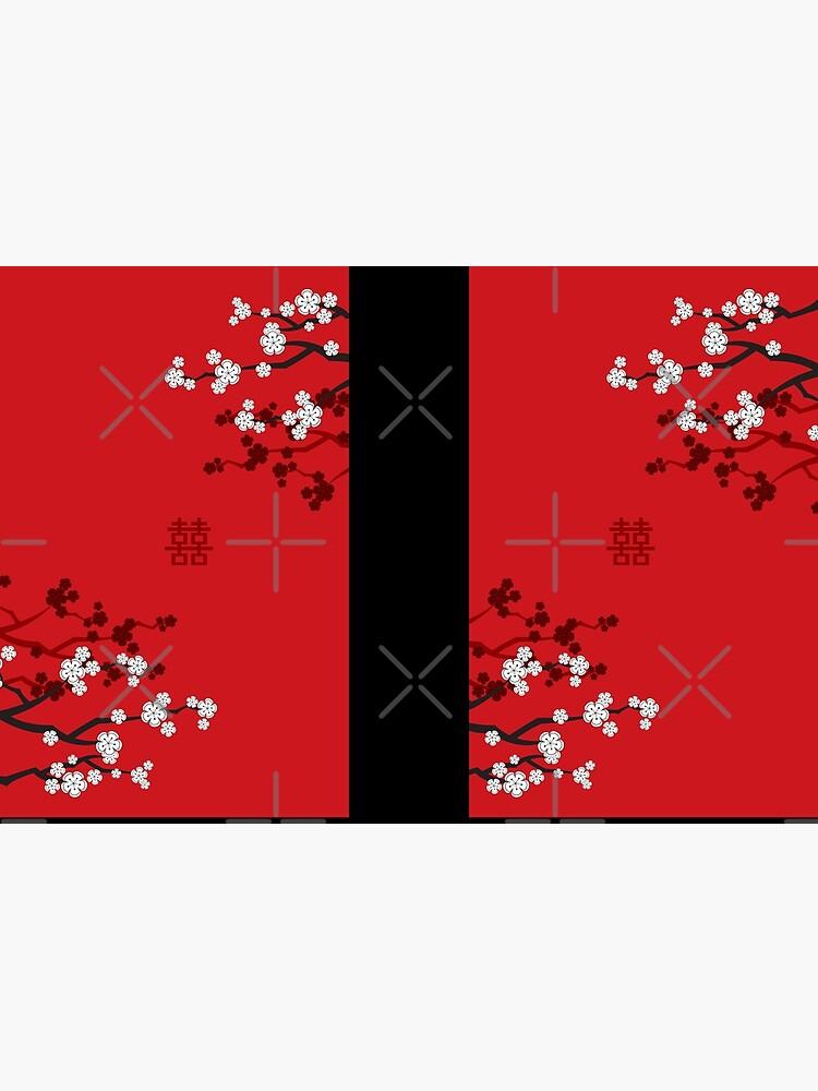 Weiße orientalische Kirschblüten auf rotem und chinesischem Hochzeits-doppeltem Glück   Japanische Sakura von fatfatin