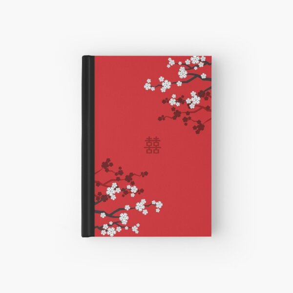 White Oriental Cherry Blossoms on Red and Chinese Wedding Double Happiness | Japanese Sakura © fatfatin  Hardcover Journal