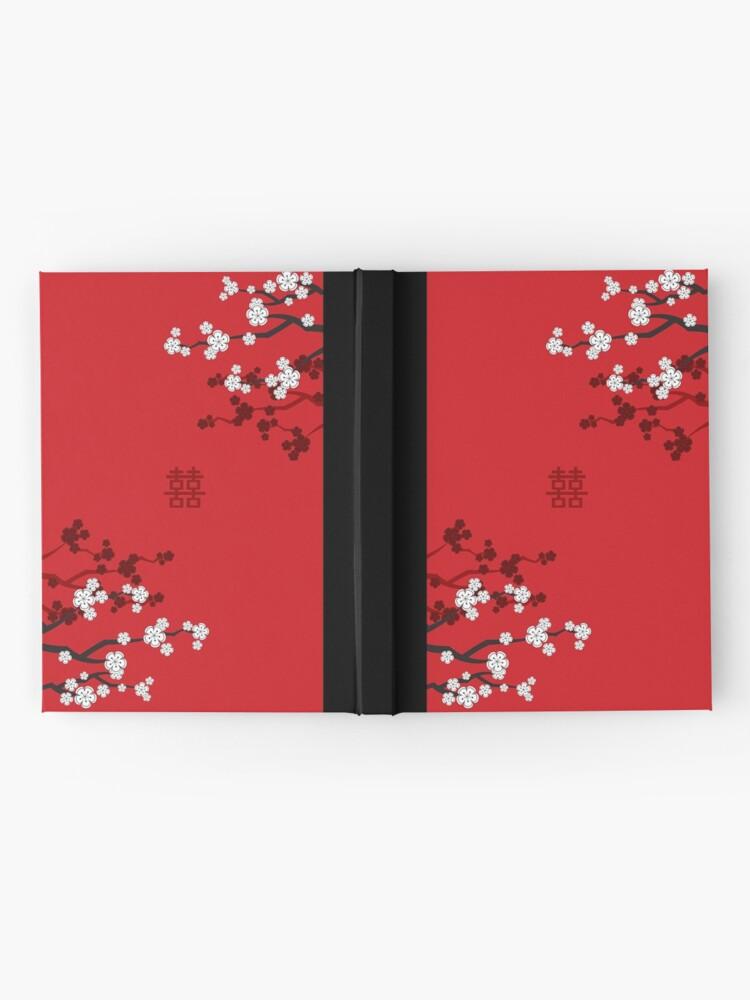 Alternative Ansicht von Weiße orientalische Kirschblüten auf rotem und chinesischem Hochzeits-doppeltem Glück   Japanische Sakura Notizbuch
