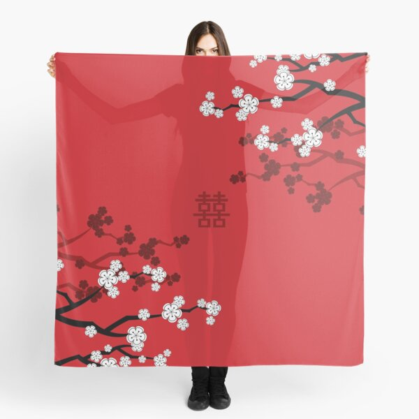 White Oriental Cherry Blossoms on Red and Chinese Wedding Double Happiness | Japanese Sakura © fatfatin  Scarf