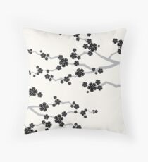 Black Oriental Cherry Blossoms | Zen Japanese Sakura Flowers Throw Pillow