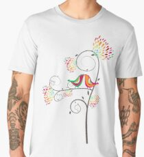Whimsical Tropical Summer Kissing Birds with Colorful Rainbow Blooms Men's Premium T-Shirt