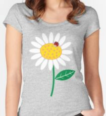 White Daisies and Red Ladybugs Women's Fitted Scoop T-Shirt