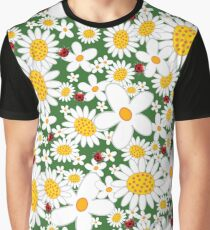 White Daisies and Red Ladybugs Graphic T-Shirt