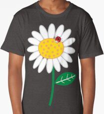 White Daisies and Red Ladybugs Long T-Shirt