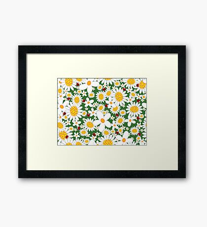 White Daisies and Red Ladybugs Framed Print