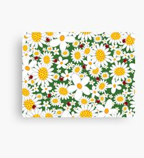 White Daisies and Red Ladybugs Canvas Print