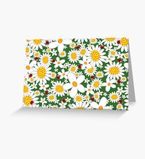 White Daisies and Red Ladybugs Greeting Card