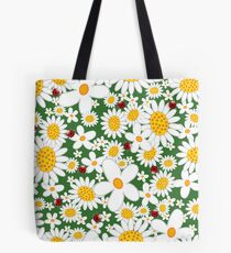 White Daisies and Red Ladybugs Tote Bag