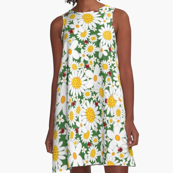 Whimsical Summer White Daisies and Red Ladybugs A-Line Dress