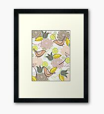 Pink Floral Potpourri Garden and Birds Framed Print