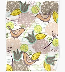 Pink Floral Potpourri Garden and Birds Poster