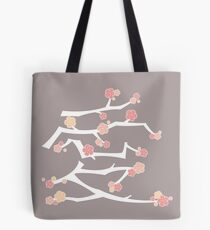 Chinese 'Ai' (Love) Calligraphy With Pink Cherry Blossoms On White Branches | Japanese Sakura Kanji Tote Bag