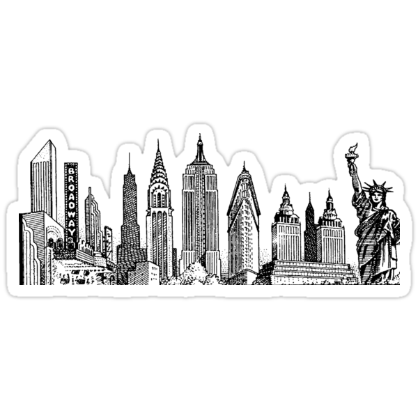 Quot New York Skyline Sticker Quot Stickers By Brian Hurst Redbubble