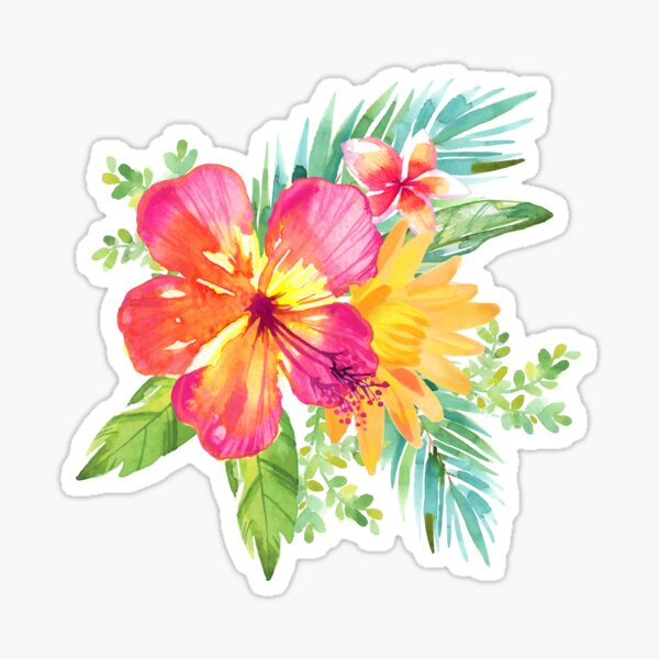 Tropical Colorful Flowers Sticker