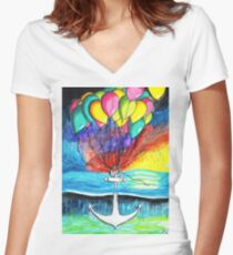 Anchor afloat (Balloons at sunset) Women's Fitted V-Neck T-Shirt