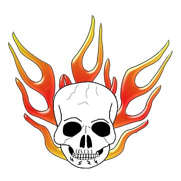 Fantasy Art Skull And Flames by biglnet