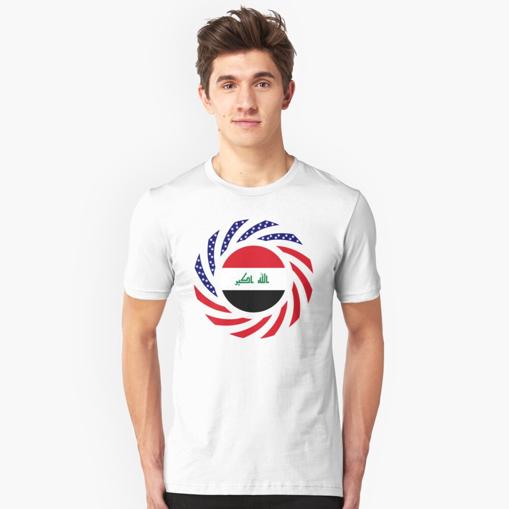 Iraqi American Multinational Patriot Flag Series Slim Fit T-Shirt