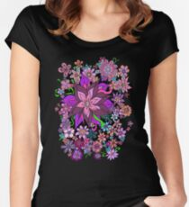 Floral Fantasy Explosion Cascade Women's Fitted Scoop T-Shirt