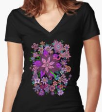 Floral Fantasy Explosion Cascade Women's Fitted V-Neck T-Shirt