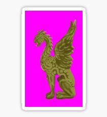 GOLDEN DRAGON SCULPTURE/PINK Sticker