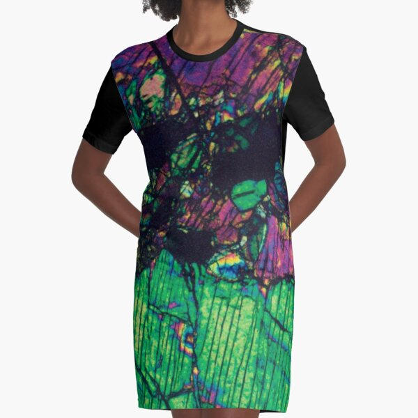 Pyroxene Crystals - Thin Section Photography Graphic T-Shirt Dress