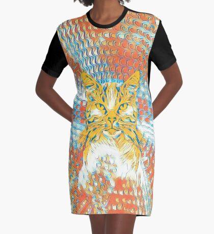 Yellow Cat Graphic T-Shirt Dress